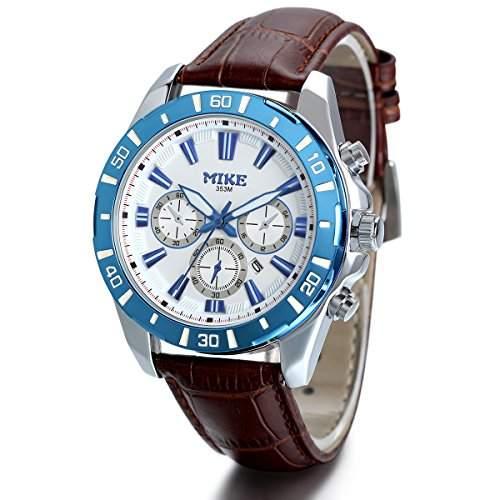 JewelryWe Herren Armbanduhr, Analog Quarz, Fashion Casual Kalender Sport Uhr mit Leder Armband, Braun Blau