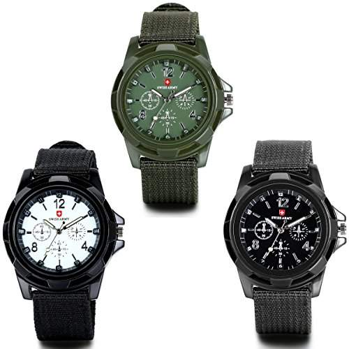 JewelryWe 3PCS Herren Armbanduhr, Analog Quarz Piloten Outdoor-Sportuhr Textil Armband Uhr mit Digital Zifferblatt, 3 Modellen