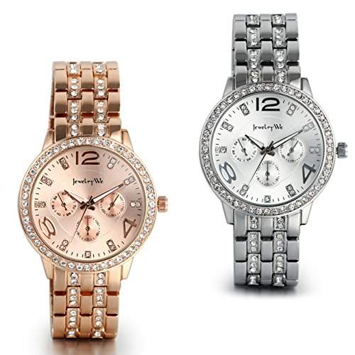 JewelryWe 2pcs Damen Armbanduhr, Luxus Elegant Business Casual Analog Quarz Uhr mit Edelstahl Strass Armband, Rose Gold Silber