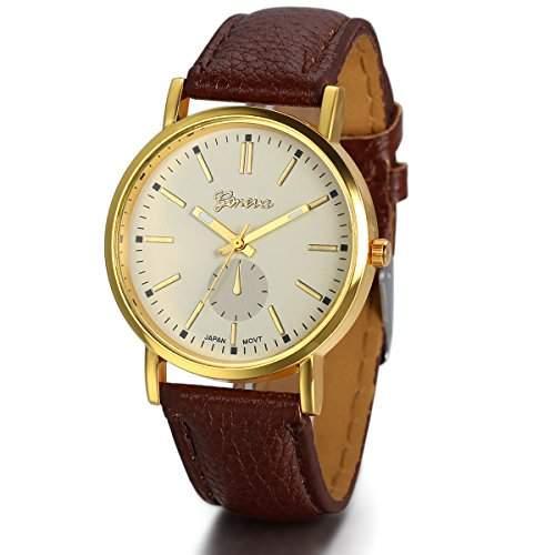 JewelryWe Herren Damen Armbanduhr, Einfach Klassiker Business Casual Analog Quarz Kaffee Leder Armband Uhr mit Gelb Zifferblatt & Gold Gehaeuse