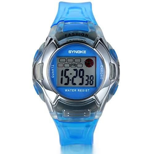 JewelryWe Kinder Armbanduhr, Jungen Maedchen Studenten Multi-funktion LED Digital Elektronische Sport Uhr mit Silikon Armband, Blau