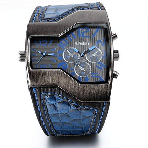 JewelryWe Herren Armbanduhr, Leder Legierung, Casual Analog Quarz Sportuhr Blau Leder Armband Uhr mit Digital Zifferblatt