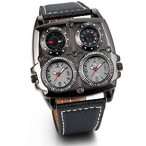 JewelryWe Herren Armbanduhr, Leder Legierung, Elegant Analog Quarz Kompass Thermometer Armband Uhr mit Zwei Zifferblaettern, Schwarz