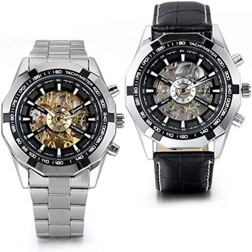 JewelryWe 2PCS Herren Armbanduhr, Analog Quarz, Fashion Business Casual Mechanische Automatische Uhr mit Edelstahl Leder Armband, Schwarz Bezel Skelett Zifferblatt