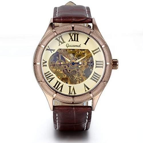 JewelryWe Herren Armbanduhr, Analog Quarz, Elegant Business Casual Mechanische Uhr mit Braun Leder Armband, Gold Roemische Ziffern Zifferblatt