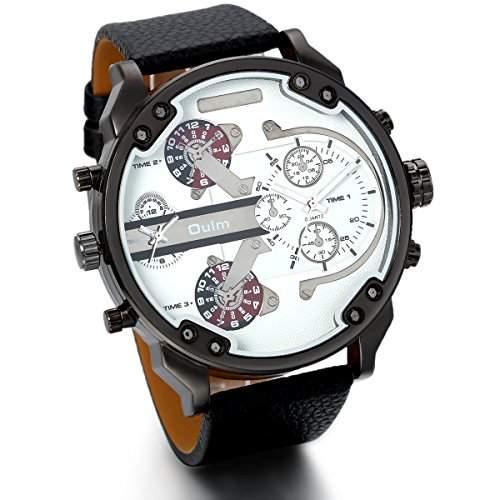 JewelryWe Herren Armbanduhr, Analog Quarz, Fashion Casual grosse Sport Leder Armband Uhr mit Dual Zeitzonen Zifferblatt, Schwarz
