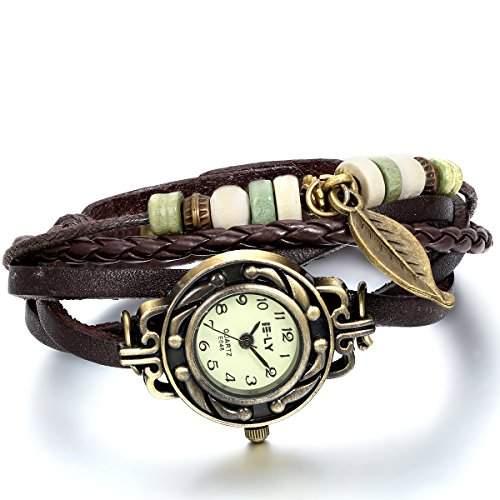 JewelryWe Damen Armbanduhr, Retro geflochten Leder Armband Armreif Armkette Uhr mit Baum Blatt Anhaenger, Braun Bronze