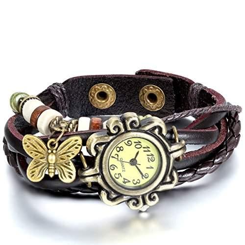JewelryWe Damen Armbanduhr, Retro geflochten Leder Armband Armreif Armkette Uhr mit Schmetterling Anhaenger, Braun Bronze