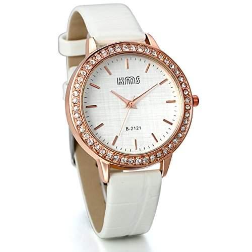 JewelryWe Damen Armbanduhr, Analog Quarz, Einfach Business Casual Leder Armband Uhr mit Strass Rundem Zifferblatt, Weiss