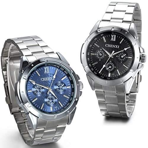 JewelryWe 2pcs Herren Armbanduhr, Business Casual Analog Quarz Uhr mit Edelstahl Armband, BlauSchwarz Zifferblatt