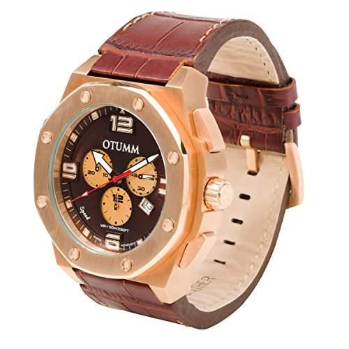 OTUMM Speed Rosé Gold 09299 Herren-Armbanduhr XL - 53mm Chronograph & Lederarmband - Braun