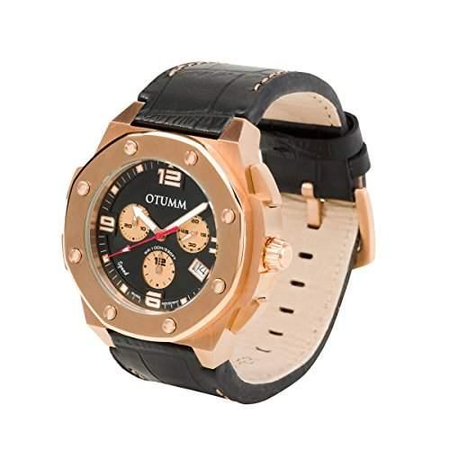 OTUMM Speed Rosé Gold 09296 Herren-Armbanduhr XL - 45mm Chronograph & Lederarmband - Schwarz
