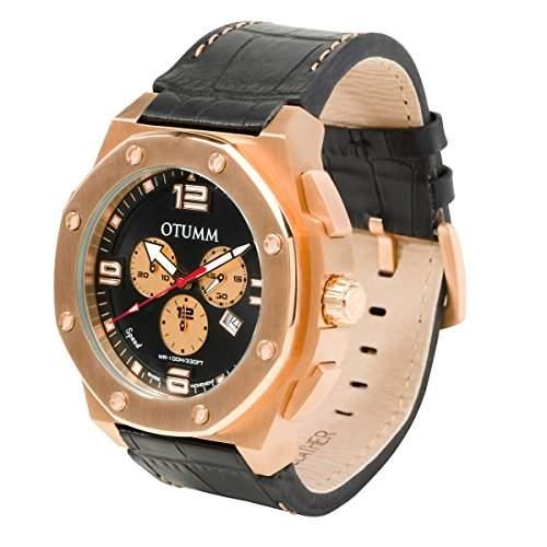 OTUMM Speed Rosé Gold 09297 Herren-Armbanduhr XL - 53mm Chronograph & Lederarmband - Schwarz