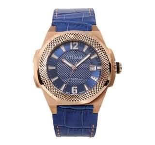 OTUMM Herren-Armbanduhr XL Rush Roségold, Weiss - 45mm Analog Quarz Leder 09300
