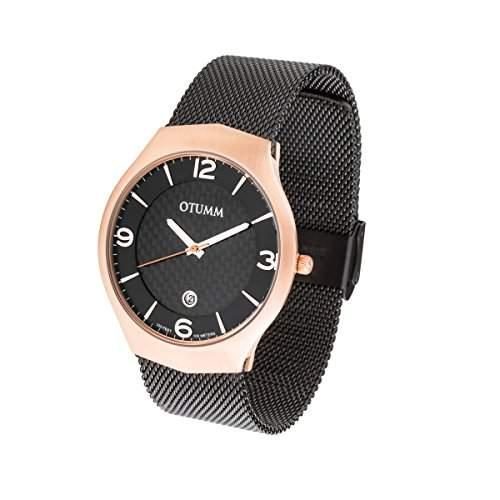 OTUMM Herren-Armbanduhr XL Slim Roségold, Schwarz - 41mm Analog Quarz Edelstahl 07250