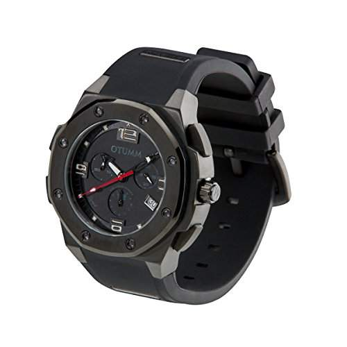 OTUMM Herren-Armbanduhr Speed Black 45 mm, schwarz Chronograph Quarz Kautschuk 02940