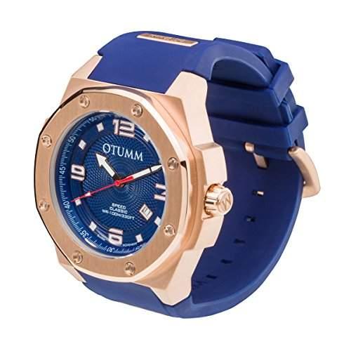 OTUMM Speed Classic 05367 Herren-Armbanduhr XL - 53mm analog - Roségold-Blau