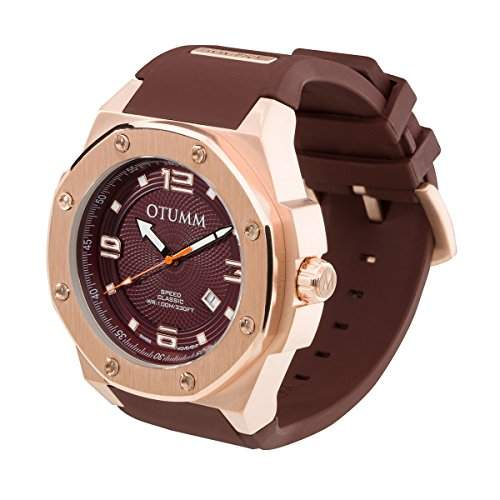 OTUMM Speed Classic 05366 Herren-Armbanduhr XL - 53mm analog - Roségold-Chocolate