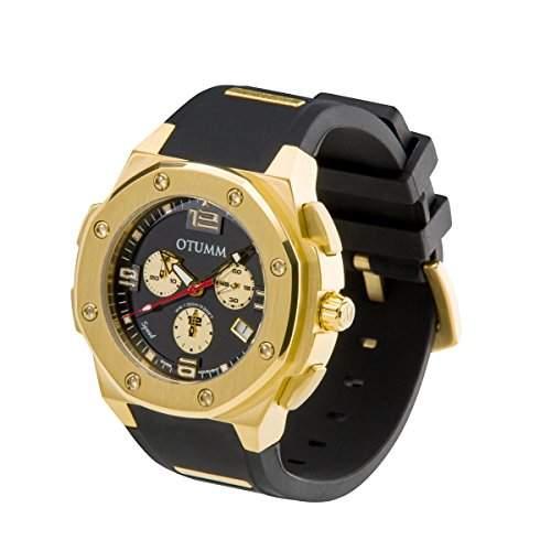 OTUMM Speed Gold 07195 Herren-Armbanduhr XL - 45mm Chronograph - Schwarz