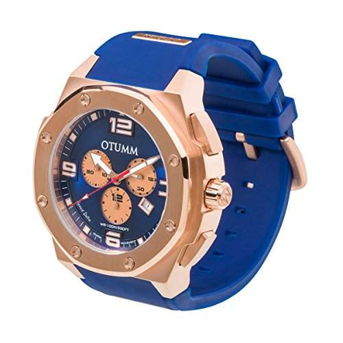 OTUMM Speed Rose Gold 07222 Herren-Armbanduhr XL - 53mm Chronograph - Blau