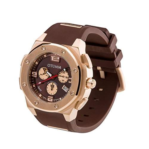 OTUMM Speed Rosé Gold 05153 Herren-Armbanduhr XL - 45mm Chronograph - Chocolate