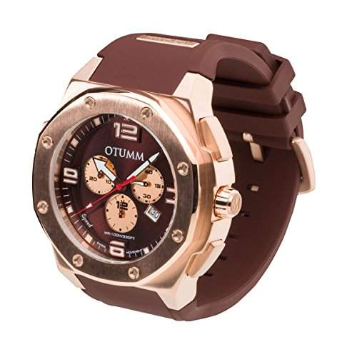 OTUMM Speed Rosé Gold 05154 Herren-Armbanduhr XL - 53mm Chronograph - Chocolate