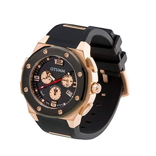 OTUMM Speed Rosé Gold 07197 Herren-Armbanduhr XL - 45mm Chronograph - Schwarz