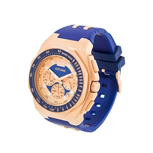 OTUMM Herren-Armbanduhr Sports Tachymeter 45 mm, roségoldblau Analog Quarz Kautschuk 02183