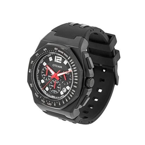 OTUMM Herren-Armbanduhr Sports Tachymeter 45 mm, schwarz Chronograph Quarz Kautschuk 02188