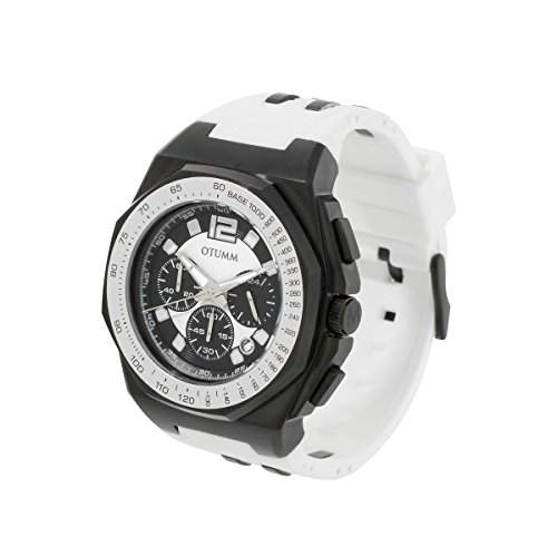 OTUMM Herren-Armbanduhr Sports Tachymeter 45 mm, schwarzweiss Chronograph Quarz Kautschuk 02187