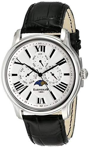 Earnshaw Herren ES-0025-01 Longitude Analog Display Swiss Quartz Black Armbanduhr