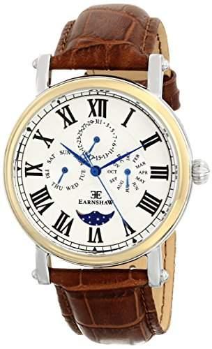 Earnshaw Herren ES-8031-02 Maskelyne Analog Display Japanese Quartz Brown Armbanduhr