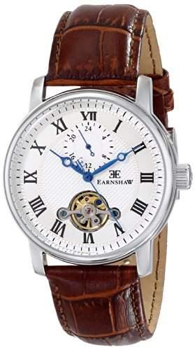 EarnShaw Westminster Herren-Armbanduhr 42mm Armband Leder Braun Gehäuse Edelstahl Handaufzug 8042-02
