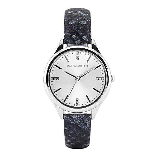 Karen Millen Python Effekt Leder Uhr mit Swarovski Detail