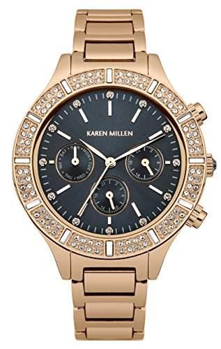 Karen Millen Damen-Armbanduhr Analog Quarz Edelstahl KM103RGM