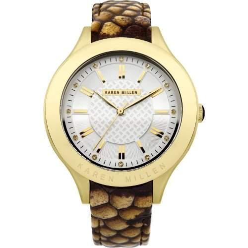 Karen Millen Womens White Dial Strap Watch KM124TG