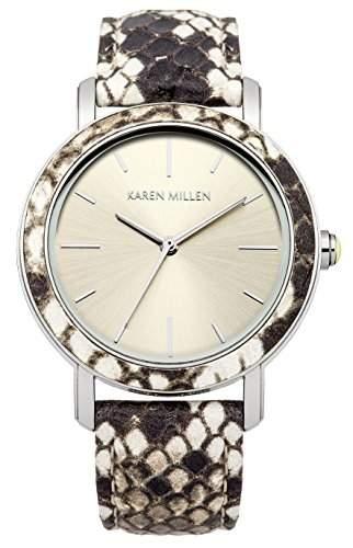 Karen Millen Damen-Armbanduhr Analog Quarz Leder KM137CSP