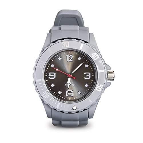 Armbanduhr mit Silikonarmband Unisex Uhr in Grau