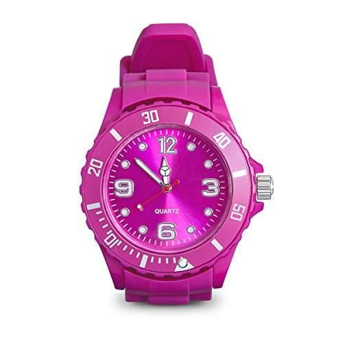 Armbanduhr mit Silikonarmband Unisex Uhr in Pink