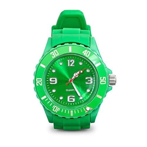 Armbanduhr mit Silikonarmband Unisex Uhr in Hellgruen