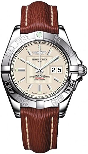 Breitling Galactic 41 Herren Automatik Uhr mit Silber Zifferblatt Analog Anzeige und braunem Lederband a49530l2 G699 221 x