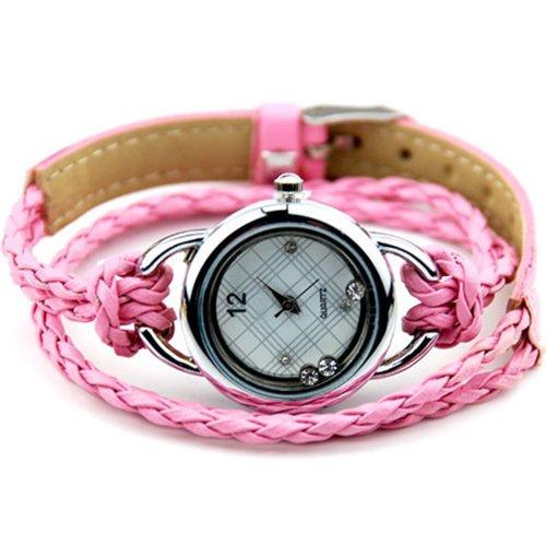 Uhr Armbanduhr Armband Armreif Gluecksbringer Strass Damenuhr Rosa