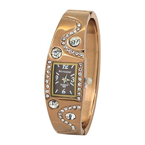 Armbanduhr Strass Kristall Uhr Quarzwerk Armband Armreif Goldig