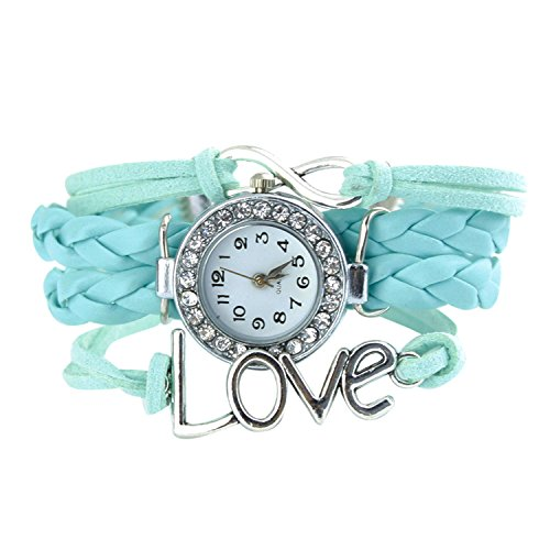 Armbanduhr Strass Uhr mit Unendlichkeit Love Charm Hellblau