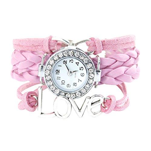 Armbanduhr Strass Uhr mit Unendlichkeit Love Charm Rosa