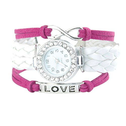Armbanduhr Strass Uhr mit Unendlichkeit Love Charm Rose Weiss