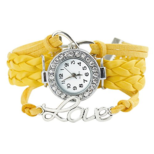 Armbanduhr Strass Uhr mit Unendlichkeit Love Charm Gelb