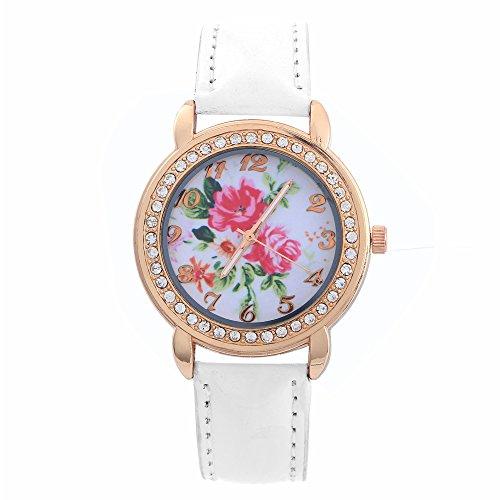 Damen Rosa Blumen Gold Kristall Kunstleder Armband Quarz Analog Armbanduhr Weiss