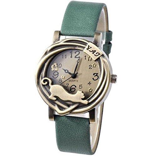 Damen Katze Blumen Quartz Analog Uhr Armbanduhr Bronze Gehaeuse Gruen