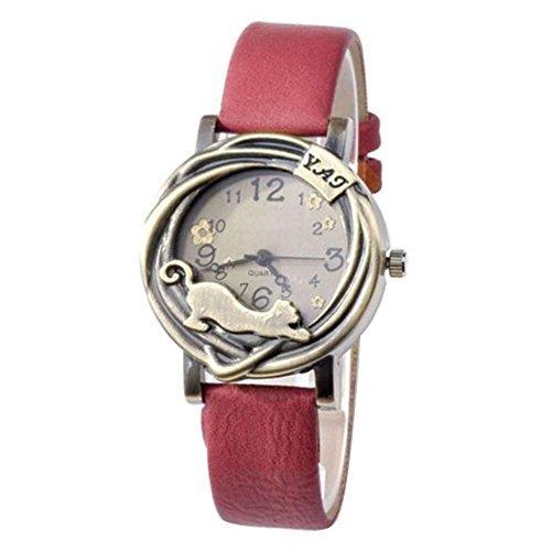 Damen Katze Blumen Quartz Analog Uhr Armbanduhr Bronze Gehaeuse Rot